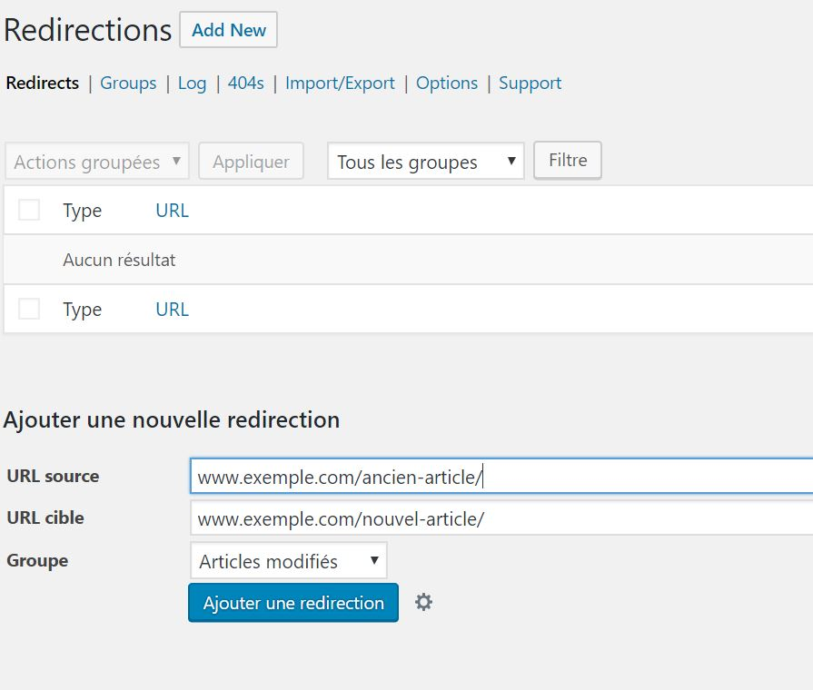 Extension redirection WordPress