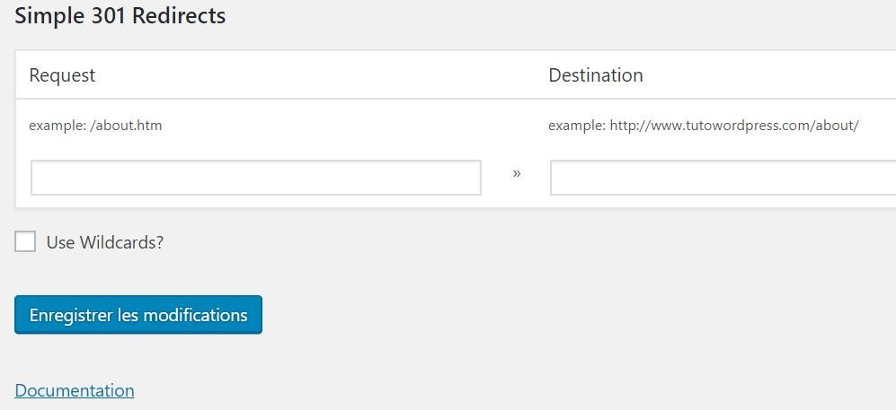 Extension WordPress Simple 301 Redirects
